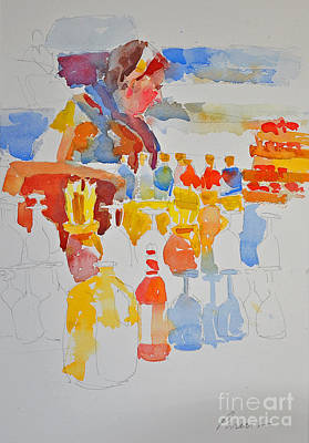 Painting - Mercado Lady With Bottles by Roger Parent