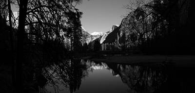 Merced River Black And White Reflection Print by Scott McGuire