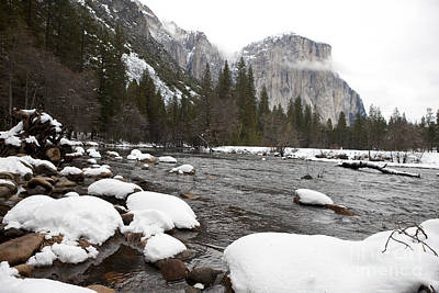 Rusty Trucks - Merced River during winter with snow by Jason O Watson