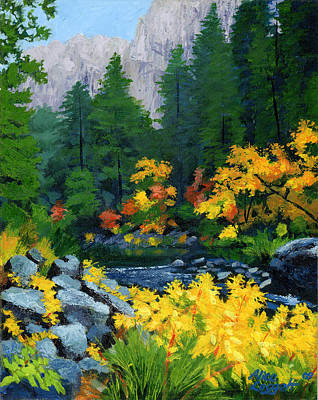 National Parks Painting - Merced River In Autumn by Alice Leggett
