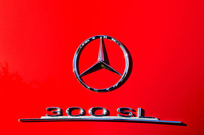 Mercedes Benz 300 Sl Classic Car Photograph - Mercedes 300 Sl Emblem -0121c by Jill Reger