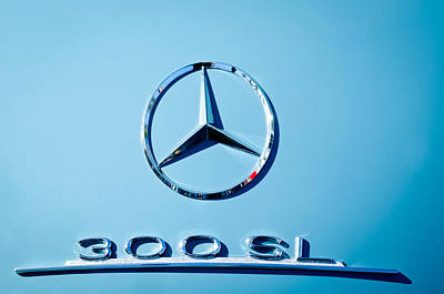 Mercedes Benz 300 Sl Classic Car Photograph - Mercedes 300 Sl Emblem -0190c by Jill Reger