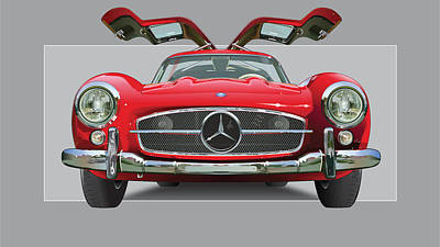 Mercedes 300 Sl Gull Wing Art Print by Alain Jamar