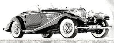 Drawing - Mercedes 540k  - Parallel Hatching by Samuel Majcen