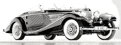 Mercedes 540k  - Parallel Hatching Art Print by Samuel Majcen