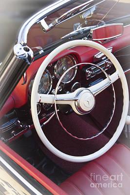 Mercedes Benz 190 Sl 1960 Steering Wheel Art Print by Heiko Koehrer-Wagner