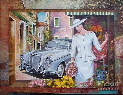 Cabriolet Painting - Mercedes-benz 220 S Cabriolet by Sinisa Saratlic