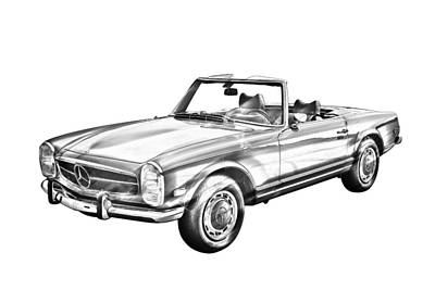 Photograph - Mercedes Benz 280 Sl Convertible Illustration by Keith Webber Jr
