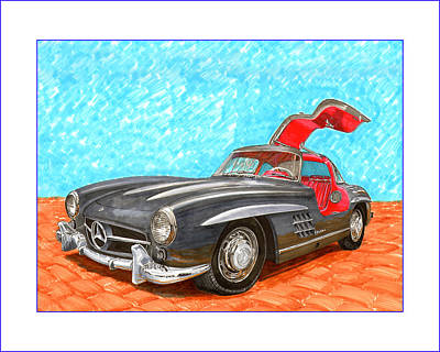 Painting - Mercedes  Benz 300 S L Gull Wing by Jack Pumphrey