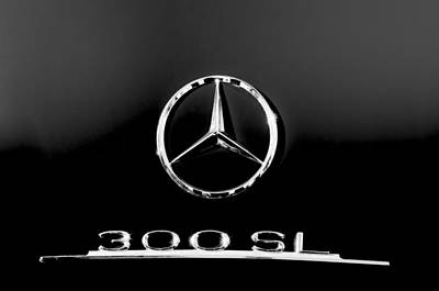 Mercedes Benz 300 Sl Classic Car Photograph - Mercedes-benz 300 Sl Emblem -0121bw by Jill Reger
