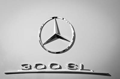 Mercedes Benz 300 Sl Classic Car Photograph - Mercedes-benz 300 Sl Emblem -0190bw by Jill Reger