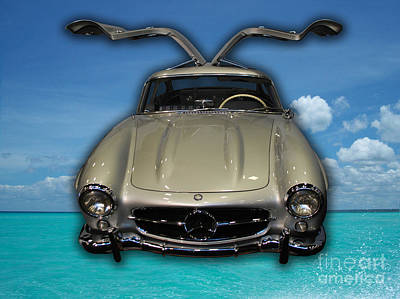 Mercedes Benz Flys Over Perfect Turquoise Blue Art Print by Heather Kirk
