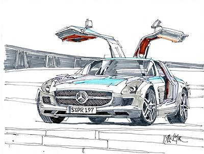 Mercedes Automobile Drawing - Mercedes Benz by Paul Guyer