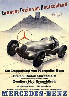 Painting - Mercedes - Benz  Poster 1937 by Roberto Prusso