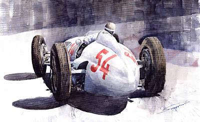 Auto Wall Art - Painting - Mercedes Benz W 154 1938 M Von Brauchisch by Yuriy Shevchuk