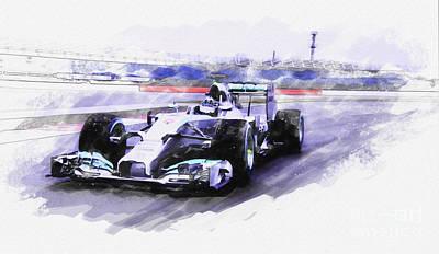 Mercedes F1 W05 Art Print