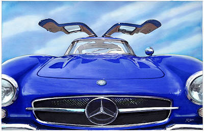 Painting - Mercedes Gullwing In Blue by Rod Seel