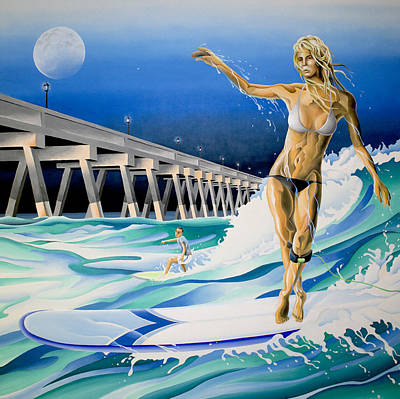 Longboard Painting - Mercers Surfer by William Love