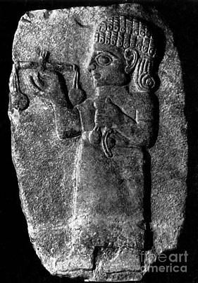 Stela Photograph - Merchant With Scales, 8th Century Bc by Science Source