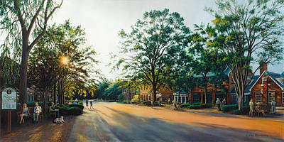 Colonial Williamsburg Painting - Merchants Square In The Late Afternoon by Gulay Berryman