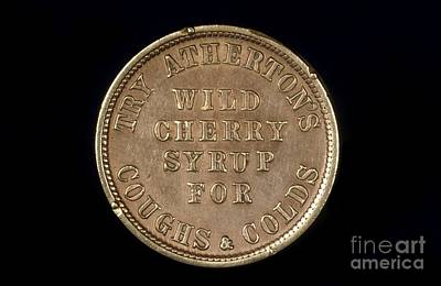 Cough Medicine Photograph - Merchant's Token, 19th Century by Science Photo Library