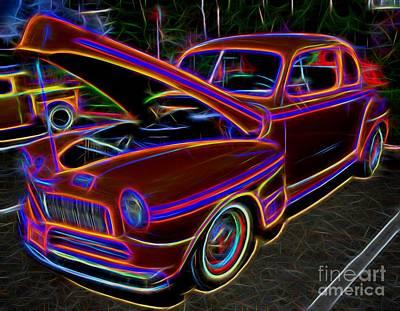Mercury 8 Classic Car - Neon Art Print by Gary Whitton