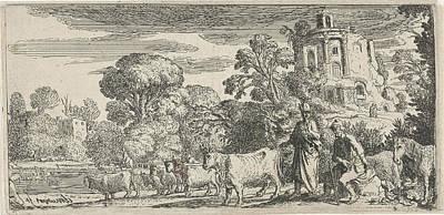 Battus Drawing - Mercury And Battus, Claes Moeyaert by Claes Moeyaert