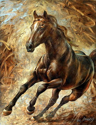 Running Horse Painting - Mercury by Arthur Braginsky