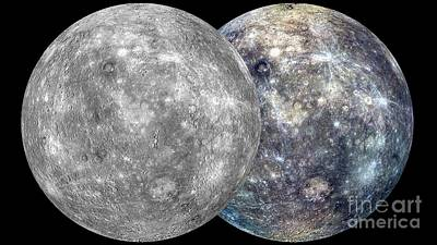 Mercury Hemispheres, Messenger Images Art Print by Nasa