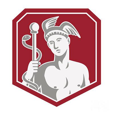 Hermes Wall Art - Digital Art - Mercury Hold Caduceus Staff Circle Retro by Aloysius Patrimonio