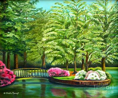 Painting - Meredith Lake - Meredith College - Raleigh Nc by Shelia Kempf