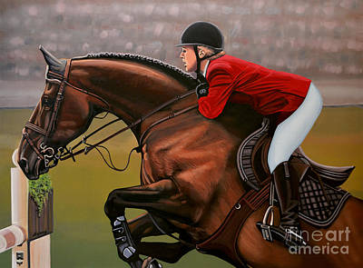 Horseback Painting - Meredith Michaels Beerbaum by Paul Meijering