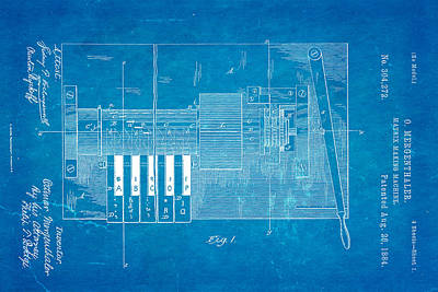 1884 Photograph - Mergenthaler Linotype Printing Patent Art 1884 Blueprint by Ian Monk