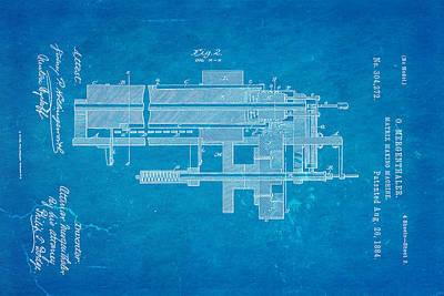 1884 Photograph - Mergenthaler Linotype Printing Patent Art 2 1884 Blueprint by Ian Monk