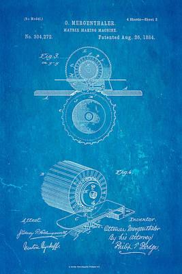 1884 Photograph - Mergenthaler Linotype Printing Patent Art 3 1884 Blueprint by Ian Monk