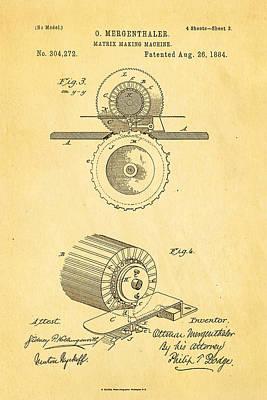 1884 Photograph - Mergenthaler Linotype Printing Patent Art 3 1884 by Ian Monk