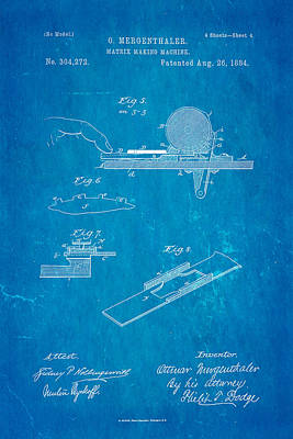 1884 Photograph - Mergenthaler Linotype Printing Patent Art 4 1884 Blueprint by Ian Monk