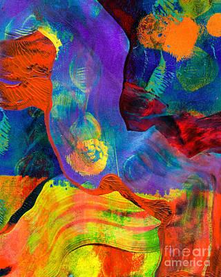 Printmaking Mixed Media - Merging Waterfalls by Laura L Leatherwood