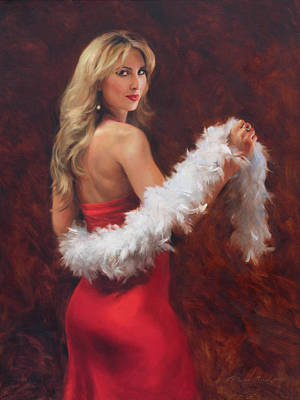 Rose Painting - Meri In Red by Anna Rose Bain
