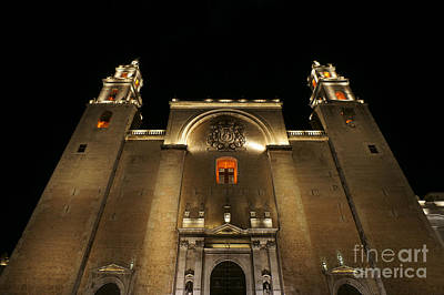 Photograph - Merida Cathedral At Night by John  Mitchell