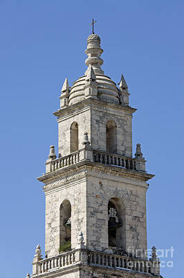 Photograph - Merida Cathedral Bell Tower Mexico by John  Mitchell