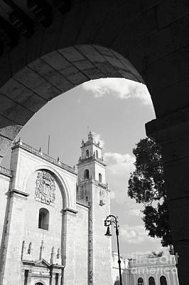 Photograph - Merida Cathedral Black And White Mexico by John  Mitchell