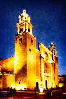 Photograph - Merida Cathedral Glowing At Night by Mark E Tisdale