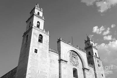 Photograph - Merida Cathedral Monochrome Mexico by John  Mitchell
