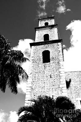 Mexico Digital Art - Merida Mexico Grande Plaza Cathedral Tower Black And White Conte Crayon Digital Art by Shawn O'Brien