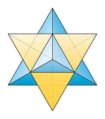 Platonic Digital Art - Merkabah - Star Tetrahedron by Peter Hermes Furian