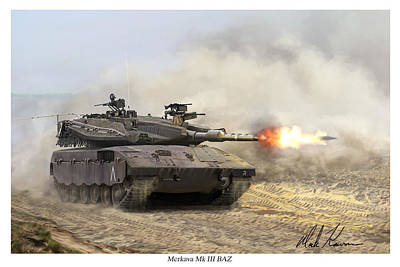 Merkava Mk IIi Baz Art Print by Mark Karvon