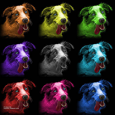 Painting - Merle Australian Shepherd - 2136 - Bb - M by James Ahn