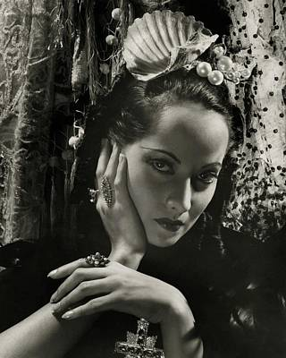Merle Oberon Wearing A Headdress Art Print by Cecil Beaton
