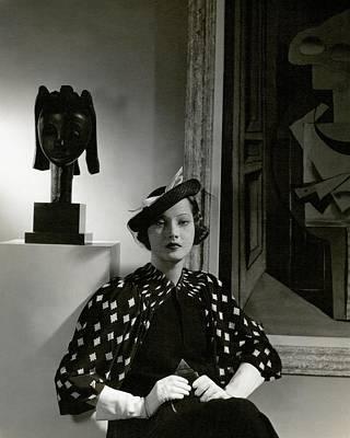 Photograph - Merle Oberon Wearing A Printed Dress by Edward Steichen